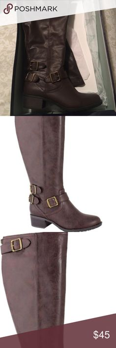 Nashville  Extra Wide-Calf Boot - Cocoa New in Box  1.5'' heel 15.75'' shaft Side zipper closure Cushioned memory foam footbed Buckle-detailed Man-made upper Fabric lining Rubber sole Imported INTAGLIA Shoes Ankle Boots & Booties