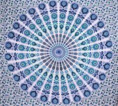Fashiana Peacock Mandala Beach Throw Hippie Tapestry