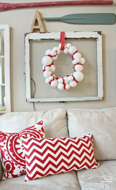 The Happy Housie - DIY Yarn Snowball Wreath with Pom Pom Trim