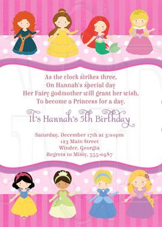 Princess Invitation BirthdayDisney Inspired by graciegirldesigns77, $12.00