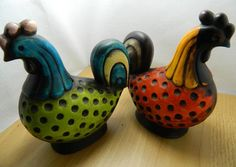 Two Vintage Crazy Homco Japan Roosters