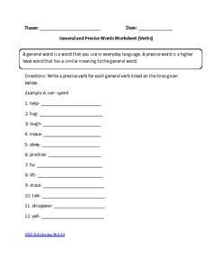 Number One Worksheets Pdf Transition Words Worksheet Connecting Ideas  Transition Words  Writing Process Worksheets Word with Printable Second Grade Math Worksheets Pdf General And Precise Verbs Ela Literacywd Writing Worksheet Multiplication Games Worksheet