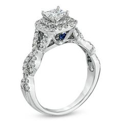 Vera Wang LOVE Collection 1 CT. T.W. Princess-Cut Diamond Double Frame Twist Engagement Ring in 14K White Gold - View All Rings - Zales