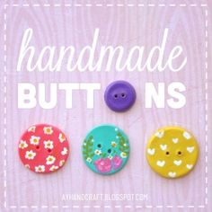 Learn how to make your own Polymer clay buttons! Free tutorial with pictures on how to make a buttons in under 20 minutes by molding with polymer clay. How To posted by Agus Y. in the Home + DIY section Difficulty: Easy. Polymer Clay Projects, Polymer Clay Creations, Handmade Polymer Clay, Craft Tutorials, Craft Projects, Make Your Own Buttons, Diy Buttons, Custom Buttons, Button Crafts