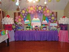 Cupcake Theme Birthday Party -- love those huge cupcakes made from white balloons on both sides of the table.