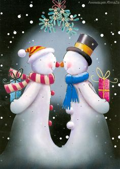 Mr. and Mrs. Snowman rubbing carrot noses with gifts behind their backs.