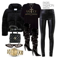 """Untitled #4689"" by dkfashion-658 ❤ liked on Polyvore featuring Gucci, Chanel, Tom Ford, Helmut Lang, Dolce&Gabbana, Rolex, parisfashionweek and Packandgo"