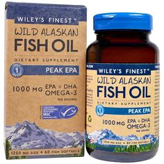 Wiley's Finest, Wild Alaskan Fish Oil, Peak EPA, 1250 mg, 60 Fish Softgels iherb Best Vitamin C, Natural Vitamin E, Alaska, Fish Oil Benefits, Sustainable Seafood, Omega 3 Fish Oil, Vitamins For Women, Fatty Fish, Pisces