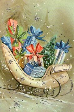 A pretty vintage sleigh piled high with presents. #vintage #Christmas #cards