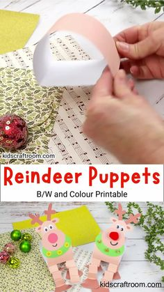 This Reindeer Puppet Printable Craft is so fun! With wibbly wobbly legs and bright red noses it's a great Rudolf The Red Nosed Reindeer craft for kids. They're really easy to make and the printable Christmas craft reindeer template comes in B/W and full colour. #kidscraftroom #kidscrafts #christmascrafts #reindeercrafts #rudolftherednosedreindeer #puppets #reindeerpuppet