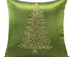 Christmas Tree Pillow Cover, Green Gold Pillow, Christmas Throw Pillow, Christmas Gift, Holiday Decor