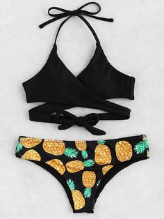 e79c43b88 Black Pineapple Print Halter Wrap Mix   Match Bikini Set