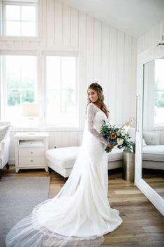 River Bottoms Ranch wedding. In the bridal suite. Wedding Dress Sleeves, Wedding Dress Styles, Lace Sleeves, Wedding Event Planner, Wedding Events, Bridal Stores, Bridal Suite, Boho Wedding, Ranch