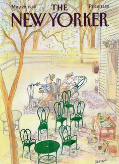 illustration : couverture de magazine, the New-Yorker, mai 1985, par Jean-Jacques Sempé. chaises de jardin