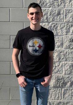 47 Pittsburgh Steelers Black Flanker Short Sleeve Fashion T Shirt - 4808630 Steelers T Shirts, Go Steelers, Pittsburgh Pirates, Pittsburgh Steelers, Pitt Panthers, Black Shorts, Team Logo, Tees, Sleeves