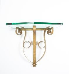 Pier Luigi Colli Golden Iron Console Table with Thick Glass Top, Italy, 1950