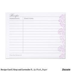 Recipe Card   Gray and Lavender Flourish