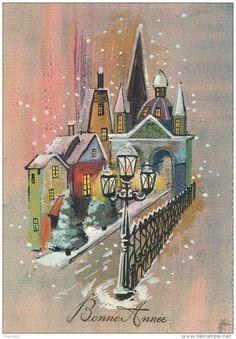 """Vintage 1964 New Year Greeting Card. PAYSAGES - Jolie carte fantaisie maisons église sous la neige de """"Bonne Année"""""""