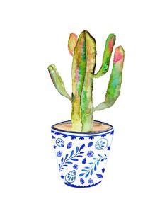 Blue and White Vase.  Cactus Print.  Cactus Illustration.  Southwest Decor.