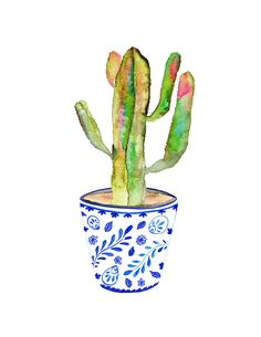 Blue and White Vase. Cactus Print. Cactus Illustration. Southwest Decor.