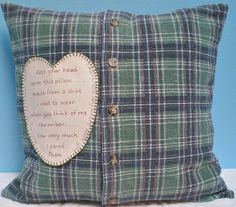 Man's Memory Pillow Slipcover Made From Shirt by SweaterScrapyard
