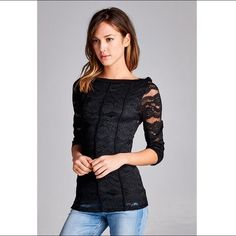 Boat neck floral lace top with piping detail 3/4 sleeves. Please note the back is sheer. Also available in Medium and Large. Tops