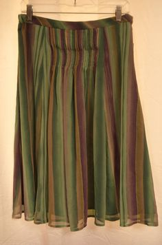 Coldwater Creek  Pintucked Front Striped Flowey Skirt Plum Fully Lined Sz PM NEW #ColdwaterCreek #Full #Flowey #Designer #Style #Fashion #Comfort #Casual #Busines #Summer #Spring #beach #Boardwalk