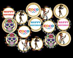 Coco Cupcake Toppers Party Printable Party Printables, Cupcake Toppers, Vibrant Colors, Card Stock, Happy Birthday, Happy Aniversary, Happy B Day, Cartonnage, Happy Birth Day