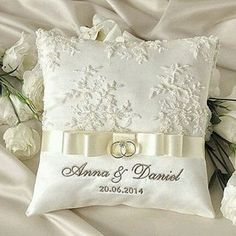 Lace Wedding Pillow Ring Bearer Pillow Embroidery Names, custom colors Custom Embroidery is welcome ! Wedding Ring Cushion, Wedding Pillows, Cushion Ring, Ring Bearer Pillows, Ring Bearer Box, Ring Pillows, Pillow Embroidery, Custom Embroidery, Rings For Girls