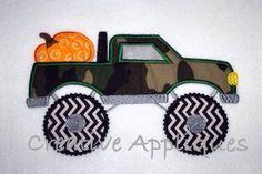 Pumpkin Monster Truck Applique