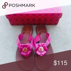 {Tory Burch} Pink Flower Sandals Color: pink, gold logo...Brand new, never been worn. No box, but I'll pack them in another Tory Burch box I have. Please know/be familiar to your own Tory Burch sizing. ❗️Price is firm, unless bundled ❗️    ❌ NO TRADES - SELLING ON POSH ONLY ❌ ❌ NO LOWBALLING ❌  ✅ Bundle Discounts ✅ Ship Next Day of Purchase  💯 % AUTHENTIC Tory Burch Shoes Sandals