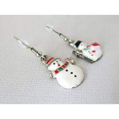 Snowman Enamel Earrings - Enamel Snowman Charm Earrings - Christmas Earrings - Holiday Jewelry - Holiday Earrings - Snowmen Earrings