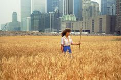 """historium:  """"In 1982 Agnes Denes cultivated, grew, and harvested a two-acre wheatfield in downtown Manhattan, a few blocks away from the World Trade Center and the heart of the financial district.  """""""