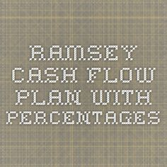 ramsey cash flow plan with percentages