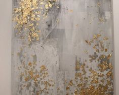 12 x 24 gold leaf abstract painting with light by CaseyLangteauArt