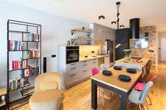 Kuchnia z wyspą - zobacz gotowy projekt wnętrza - Galeria - Dobrzemieszkaj.pl Best Dining, Corner Desk, Projects To Try, Dining Room, Room Decor, Furniture, Decorating Ideas, Dots, Corner Table