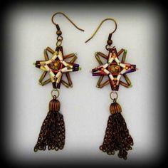 Star Earrings With Vintage Tassels Burgundy Cream Olive Bugle Beads   ByMyHandsJewelry - Jewelry on ArtFire
