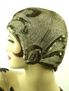 SIDE OF HAT: Vintage Hat 1920s All Original Art Deco Flapper Silk Metallic Helmet Cloche | eBay