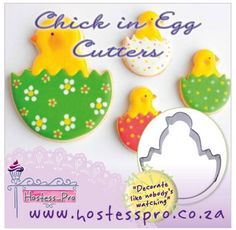 Chick in Egg Cutter  Shop from the comfort of your own home Shop online www.hostesspro.co.za  Visit our website to view all our exciting products  #cakedecorating #cake #fondant #hostessprosugarcraft #sugarcraft Like us on facebook https://www.facebook.com/hostesspro.co.za/