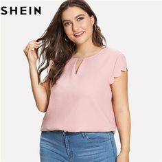 2428d17aa89 SHEIN Pink Scallop Trim Short Sleeve O-Neck Women Summer Blouses Plus Size  2018 New