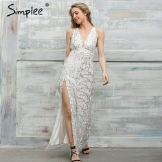 Simplee Sexy sequin tassel mermaid long dress Women evening party v neck summer dress 2017 high split mesh maxi dress vestidos