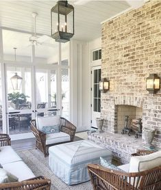 This screened in porch overlooking the waterway at the Southern Living idea house might have been my favorite room. I can't think of a much better combination than an outdoor rustic brick fireplace, comfy wicker furniture and the ocean 🌊 Great job @ Southern Living Magazine, Southern Living Homes, Southern Porches, Country Porches, Southern Cottage, Coastal Living, Living Pool, Outdoor Living, Outdoor Spaces