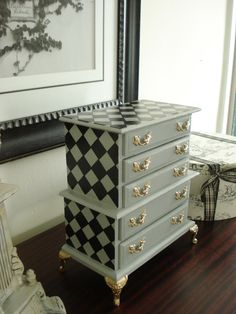 Vintage 1970's Musical Jewelry Box or chest Painted French Grey Harlequin Design.