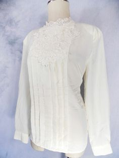 Lace Blouse Sz L Pleated Ivory Secertary Sheer Vintage 80s Shirt Top