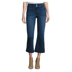 Tularosa Camilla Cropped Flare Jeans, Blue ($119) ❤ liked on Polyvore featuring jeans, cropped flare jeans, blue jeans, slim fit jeans, hemming flared jeans and flared cropped jeans