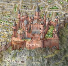 """The Red Keep from the Official map of King's Landing. """"And above it all, frowning down from Aegon's high hill, was the Red Keep...all fashioned of pale red stone. Aegon the Conqueror had commanded it built. His son Maegor the Cruel had seen it completed. Afterward he had taken the heads of every stonemason, woodworker, and builder who had labored on it. Only the blood of the dragon would ever know the secrets of the fortress the Dragonlords had built, he vowed."""""""
