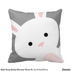 Baby Gray Bunny Nursery Throw Pillow