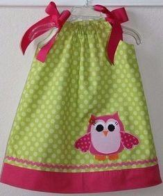 Super Cute Owl Applique Pillowcase Dress by weewhimsycouture (Etsy)- Charlotte's birthday dress Sewing For Kids, Baby Sewing, Little Girl Dresses, Little Girls, Couture Bb, Sewing Crafts, Sewing Projects, Owl Applique, Applique Dress