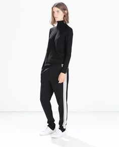 Image 1 of CUFFED TROUSERS WITH SIDE STRIPES from Zara