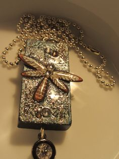 Dragonfly Domino Pendant Necklace by AngWilliams on Etsy, $25.00